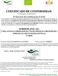 Certificado de Conformidad - Surdeplant